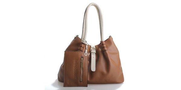 Dámska hnedá kožená kabelka Belle & Bloom s béžovými ušami