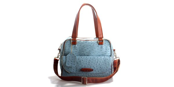 Dámska svetlo modrá kabelka Belle & Bloom v efekte pštrosej kože