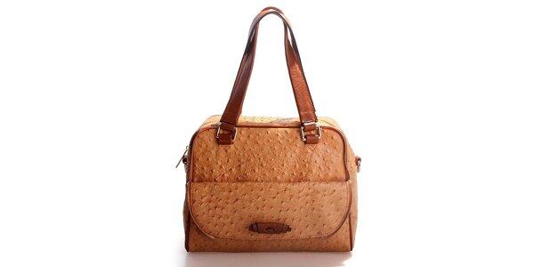 Dámska hnedo-oranžová kabelka Belle & Bloom v efekte pštrosej kože
