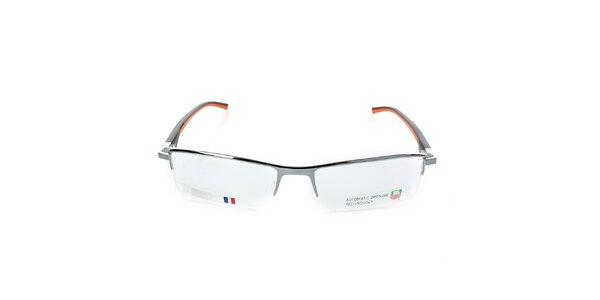 Designové šedé okuliare Tag Heuer s čierno-oranžovými stranicami