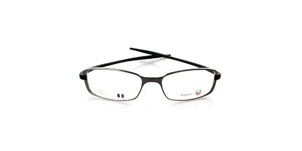 Šedé designové okuliare Tag Heuer s čiernymi stranicami