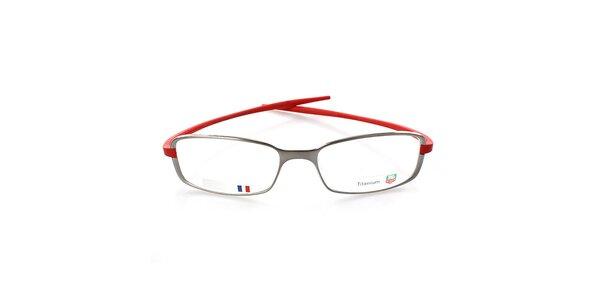 Šedé kovové okuliare s červenými stranicami Tag Heuer