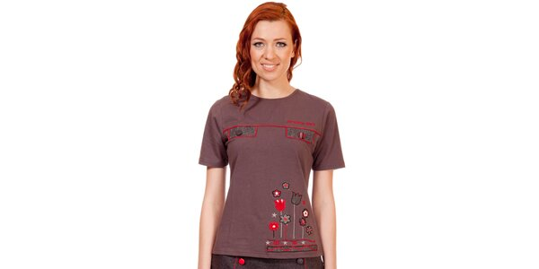 Dámske hnedo-červené tričko s výšivkou Rosalita McGee