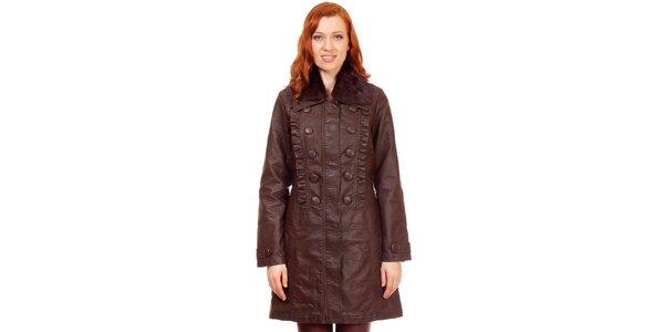 Dámsky hnedý kabát s kožušinkou Rosalita McGee