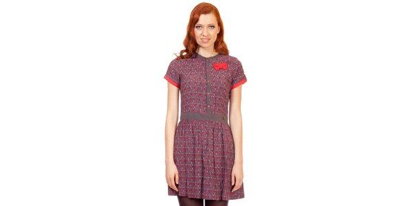 Dámske hnedo-červené šaty s mašličkou Rosalita McGee
