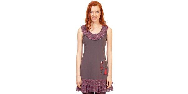 Dámske šedo-béžové šaty s volánkami Rosalita McGee