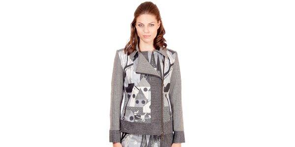 Dámsky šedý kabát s potlačou Rosalita McGee