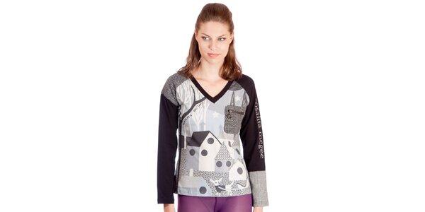Dámske šedo-čierne tričko s potlačou Rosalita McGee