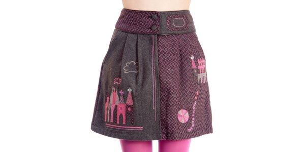 Dámska šedo-ružová sukňa s domčekmi Rosalita McGee