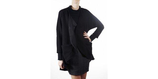 Dámsky čierny vlnený kabát Gene