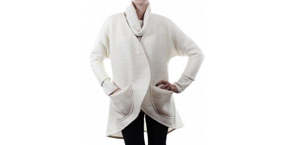 Dámsky biely vlnený kabát Gene