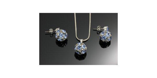 Súprava kryštáľových náušnic a prívesku Swarovski modrá