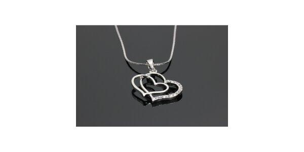 Dámsky náhrdelník so srdiečkami Swarovski