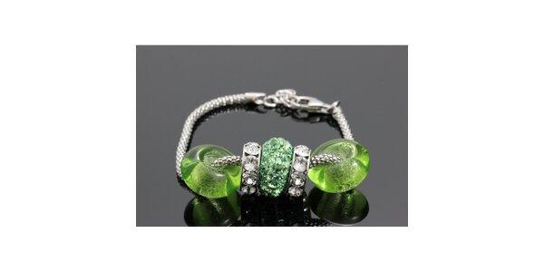 Dámsky strieborný náramok s guľatými zelenými komponentami Swarovski