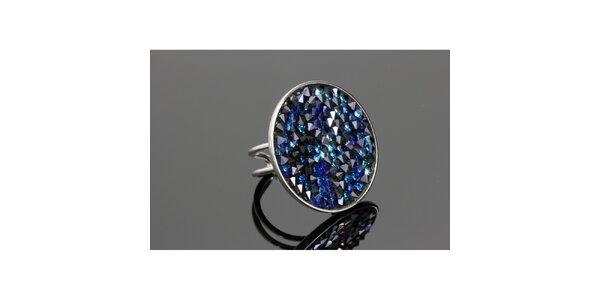 Dámsky guľatý prsteň Swarovski s modrými kryštáľmi