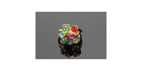 Dámsky zlatý prsteň Swarovski s farebnými kryštáľmi