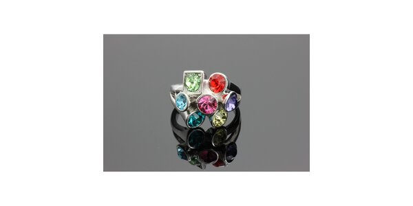 Dámsky strieborný prsteň Swarovski s farebnými kryštáľmi