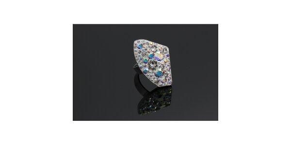 Dámsky strieborný prsteň Swarovski s dúhovými kryštáľmi