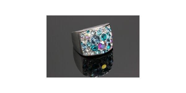 Dámsky dúhový prsteň s kryštáľmi Swarovski