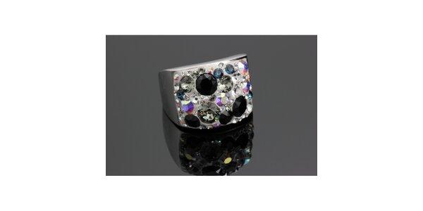 Dámsky dúhový prsteň s čiernymi kryštáľmi Swarovski
