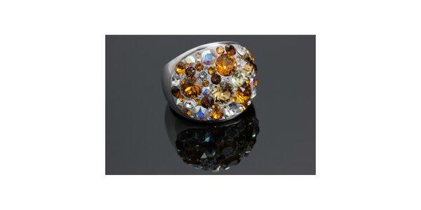 Dámsky prsteň Swarovski s hnedými kryštáľmi