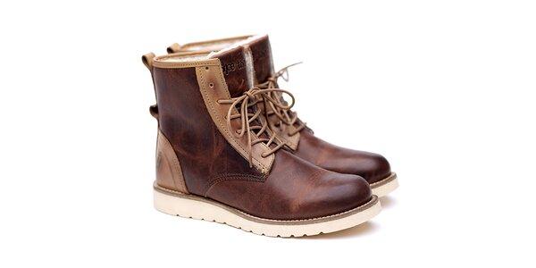 Pánske hnedo-béžové kožené topánky Shoe the Bear