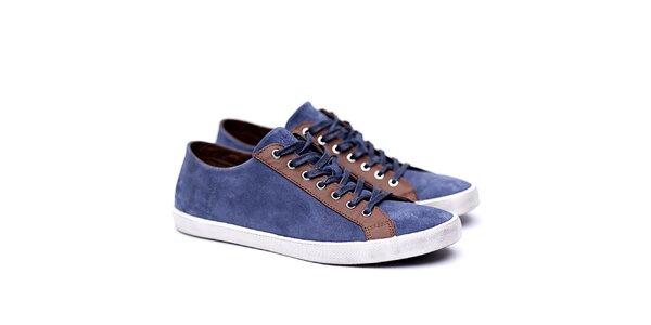 Pánske semišové modro-hnedé tenisky Shoe the Bear