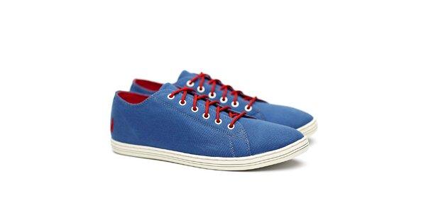 Pánske nízke modré tenisky s červenými šnúrkami Shoe the Bear