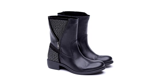 Dámske čierne kožené čižmy Shoe the Bear