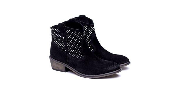 Dámske čierne kovbojské topánky Shoe the Bear