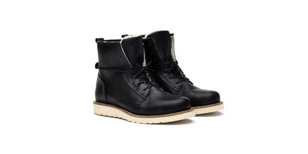 Dámske čierne kožené kanady s kožúškom Shoe the Bear
