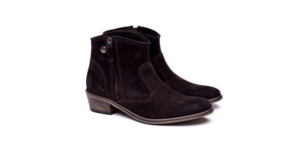 Dámske tmavo hnedé semišové kovbojské topánky Shoe the Bear
