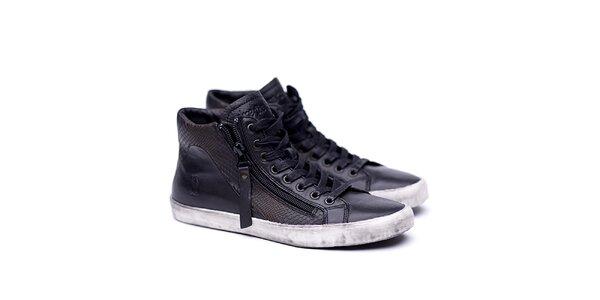 Dámske kožené čierne topánky na šnúrovanie Shoe the Bear