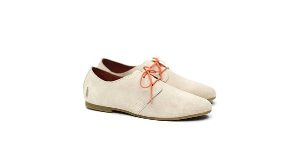 Dámske béžové poltopánky s oranžovými šnúrkami Shoe the Bear