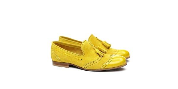 Dámske kanárikovo žlté semišové poltopánky Shoe the Bear