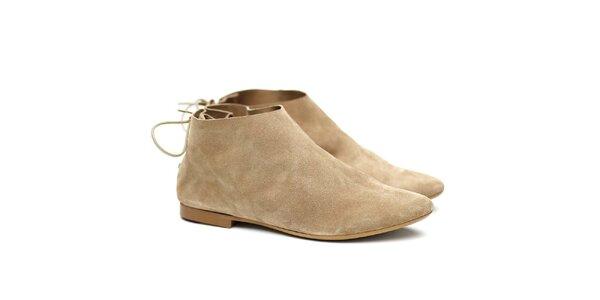 Dámske béžové semišové topánky Shoe the Bear