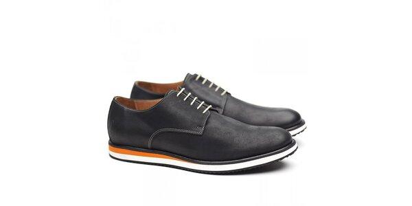 Pánske čierne poltopánky Shoe the Bear s oranžovými detailmi