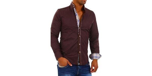 Pánska tmavo hnedá košeľa s kockovanými detailmi Carisma
