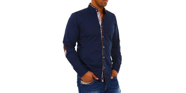 Pánska tmavo modrá košeľa so stojačikom Carisma