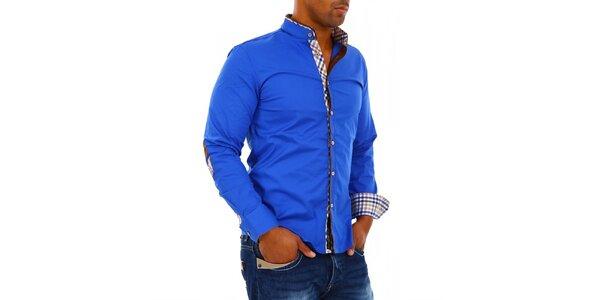 Pánska modrá košeľa so stojačikom Carisma
