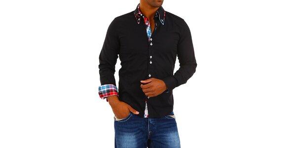 Pánska čierna košeľa s golierikom a modro-bielo-červenou kockou Carisma