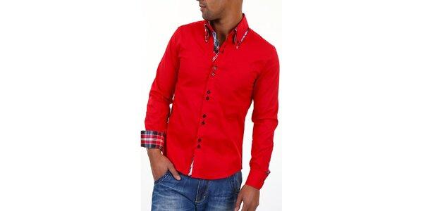 Pánska červená košeľa s golierikom a modro-bielo-červenou kockou Carisma