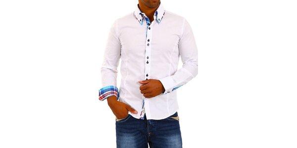 Pánska biela košeľa s golierikom a modro-bielo-červenou kockou Carisma