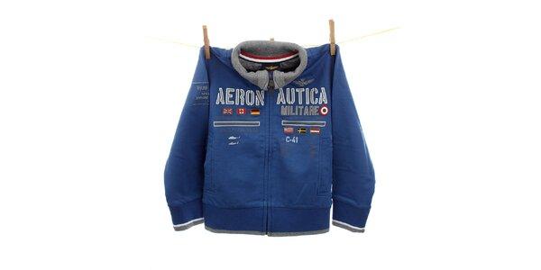 Detská modrá mikina s leteckými nášivkami Aeronautica Militare