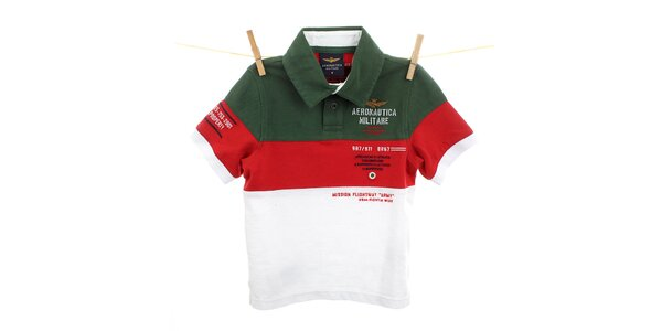 Detské zeleno-červeno-biele polo Aeronautica Militare