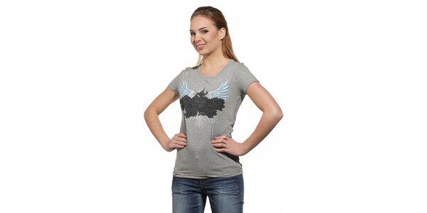 Dámske svetlo šedé tričko Replay s potlačou