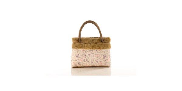 Dámska béžová kabelka Elite Goby s nápismi