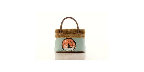 Dámska béžová kabelka Elite Goby s motívom Istanbulu