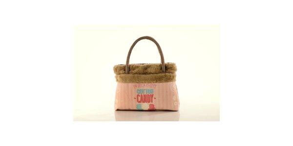Dámska béžová kabelka Elite Goby s ružovou potlačou