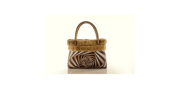 Dámska béžová kabelka Elite Goby s op-artovým motívom
